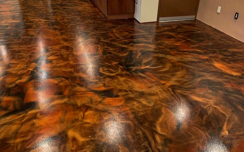 Copper with floral patterns epoxy floor for living room