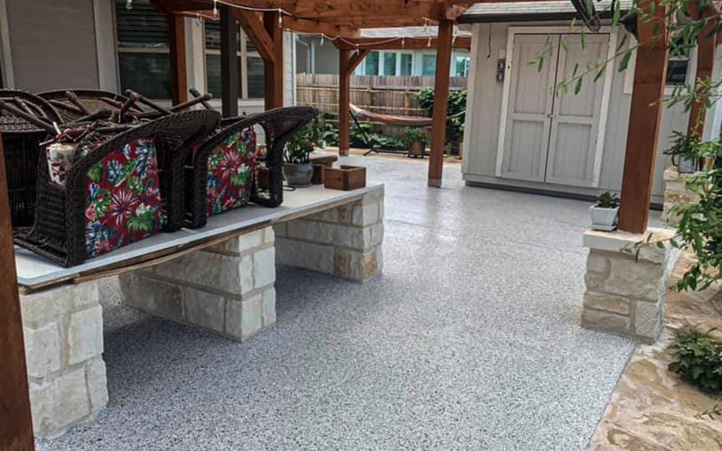 Roofed-outdoor area with epoxy flooring