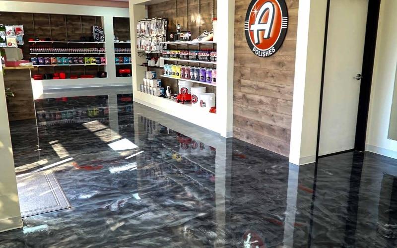 Epoxy coating store displays flooring polishing products