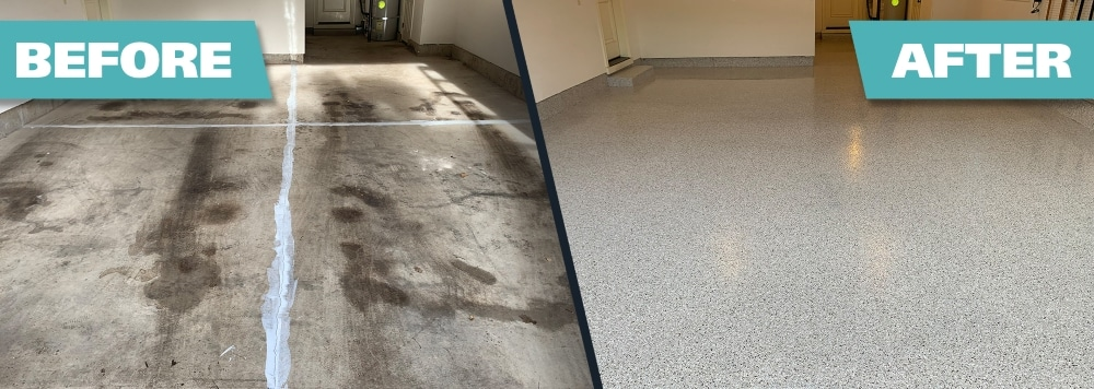 up close garage flake floor before and after.